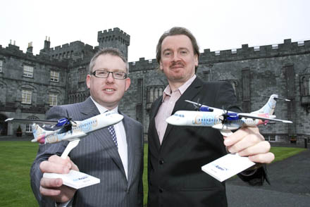 Pictured at Kilkenny Castle  is Graham Doyle CEO, Waterford Airport and Damian Downes, CEO, Kilkenny Arts Festival