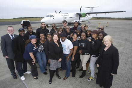 Graham Doyle CEO OF Waterford Airport sponsors of the Waterford International Festival of Music with Festival Chairperson Anne Marie Caulfield and Gospel Festival Sponsor Kathleen Fitzgerald of Georges Court Shopping Centre greeting the world famous London Community Gospel Choir on their arrival at Waterford Airport on the Aer Arann London Luton flight this morning (Friday November 5) for their highly anticipated performance at the Gospel Festival which forms part of the Waterford International Music Festival 2010.