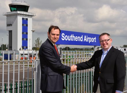 Pictured London Southend Airport's managing director, Alastair Welch and Waterford Airport CEO Graham Doyle at the opening of the London Southend Airport Train Station.