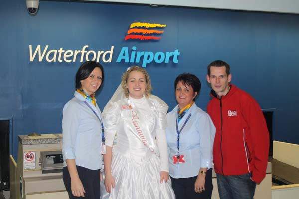 Beat 102 103's Runaway Bride Finalist Laura Finnegan pictured with Teresa Heaney Waterford Airport Security and Lisa Cooke – Passenger Service Agent with Beat 102- 103' Niall Power.
